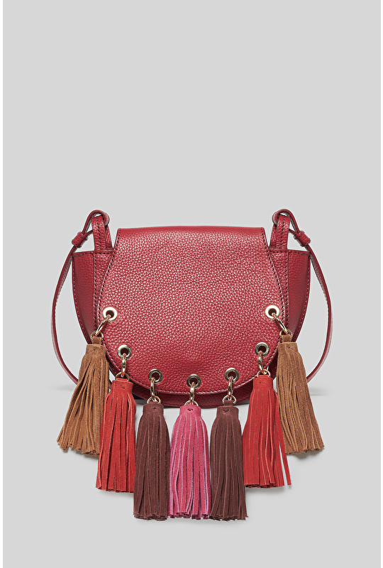 TASSELS & LEATHER CROSSBODY BAG