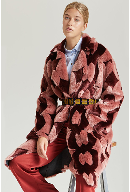 JACQUARD ECO FUR COAT