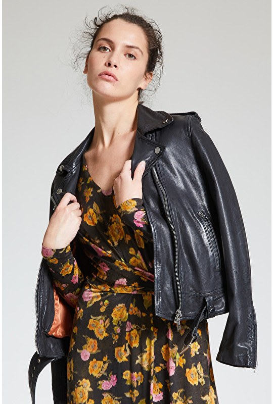 VEGETAL DYED LEATHER STUDDED JACKET