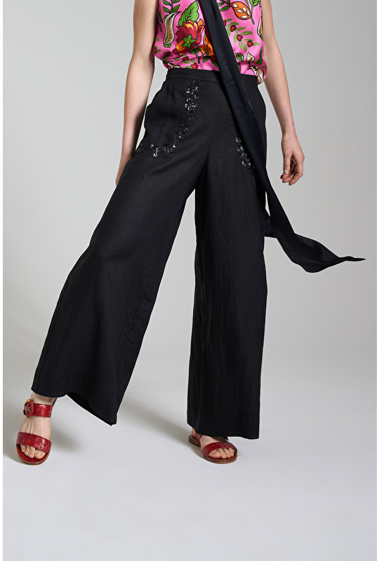 RAMAGE ON LINEN TROUSERS
